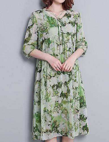 abordables Robes Femme-Femme Chic de Rue Mi-long Balançoire Robe - A Basque, Fleur Vert L XL XXL Manches Courtes