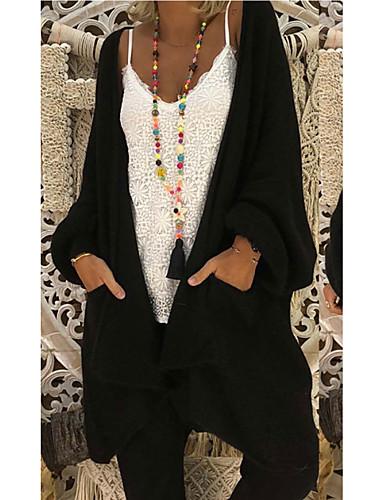 povoljno Ženski džemperi-Žene Jednobojni Dugih rukava Kardigan, V izrez Jesen Crn / Vojska Green / Red S / M / L