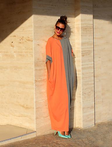 abordables Robes Femme-Femme Bohème Midi Courte Robe Couleur Pleine Bloc de Couleur Noir & Blanc Gris-noir Noir Noir Orange Gris M L XL Manches Courtes