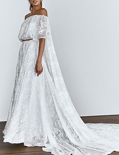 olcso Menyasszonyi ruhák 2019-Kétrészes Aszimmetrikus / Szív-alakú Udvari uszály Csipke Made-to-measure esküvői ruhák val vel Rátétek által LAN TING Express