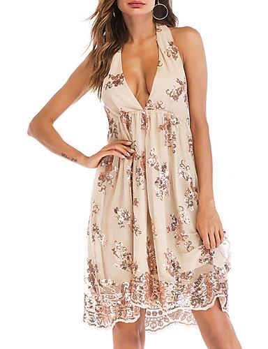Kadın's Temel A Şekilli Elbise - Çiçekli, Desen Diz üstü