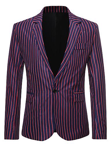 voordelige Herenblazers & kostuums-Heren Blazer, Gestreept Overhemdkraag Katoen / Polyester Zwart / Marineblauw