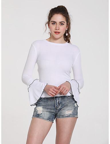 billige Topper til damer-T-skjorte Dame - Ensfarget, Lapper Grunnleggende Hvit