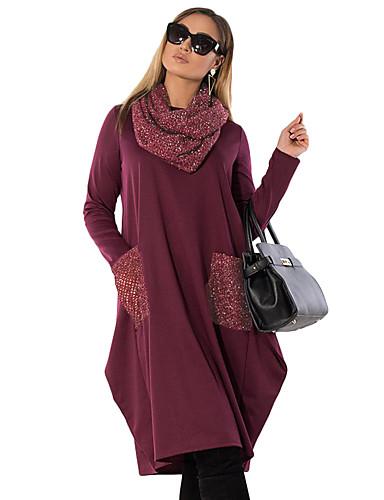 voordelige Grote maten jurken-Dames Standaard Elegant T Shirt Jurk - Effen Midi
