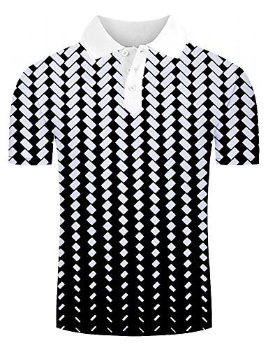 voordelige Herenpolo's-Heren Standaard / Street chic Print Polo 3D / Grafisch Wit