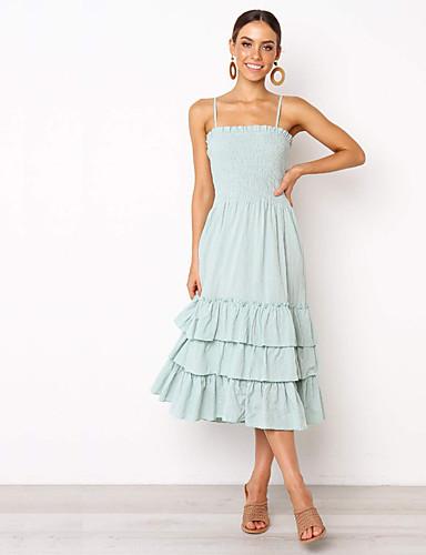 Kadın's Boho Zarif Kılıf Elbise - Solid Geometrik, Arkasız Dantelli Midi