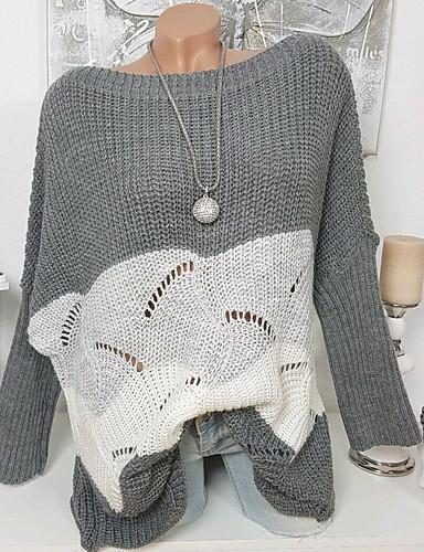 povoljno Ženske majice-Žene Color block Dugih rukava Pullover, V izrez Svijetlosiva / Bijela / Tamno siva S / M / L