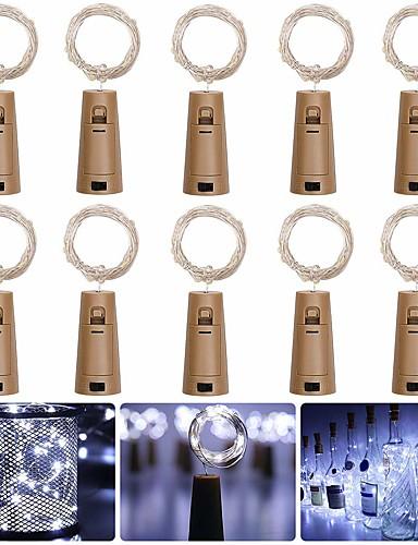povoljno Rasvjeta-Loende barisc vino boca svjetla s pluta 10 omota vodio vila svjetla baterija 20 leds srebrne bakrene žice vodootporan