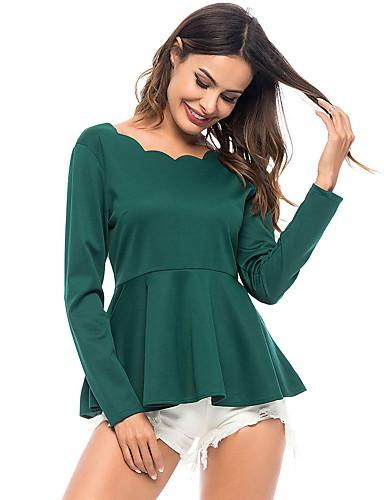 billige Topper til damer-T-skjorte Dame - Ensfarget, Drapering Grunnleggende Grønn