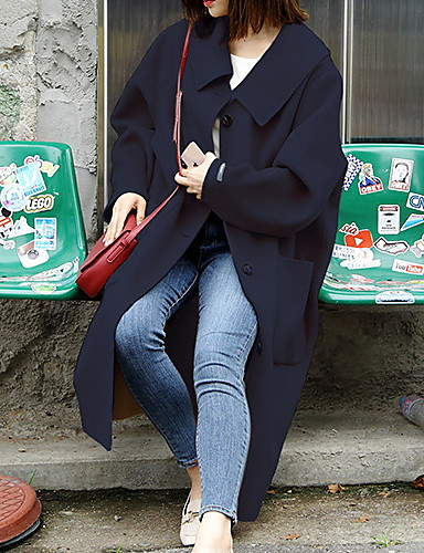 baratos Casacos de Mulher-Mulheres Diário Outono & inverno Longo Casaco, Sólido Gola Enrolada Manga Longa Poliéster Preto / Camel