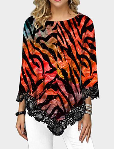 abordables Hauts pour Femme-Tee-shirt Femme, Géométrique Arc-en-ciel