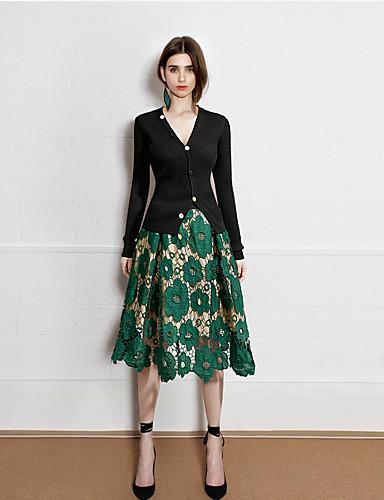 abordables Jupes-Femme Basique Chic de Rue Trapèze Jupes - Couleur Pleine Brodée / Garniture en dentelle Noir Vert Taille unique / Ample