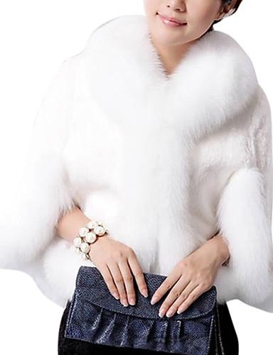 billige Ytterklær til damer-Herre Daglig Vår Normal Faux Fur Coat, Ensfarget Peter Pan-krage Langermet Polyester Hvit