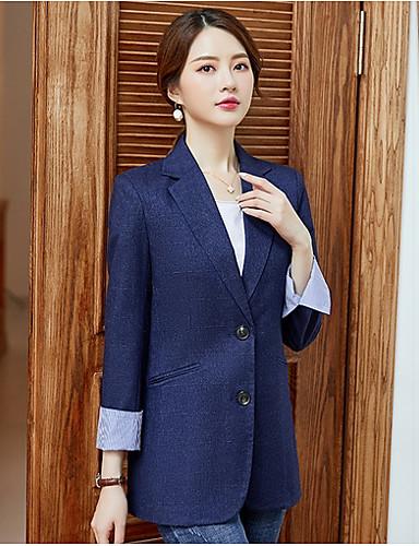 Kadın's Blazer, Solid Çentik Yaka Polyester Siyah / Koyu Mavi S / M / L