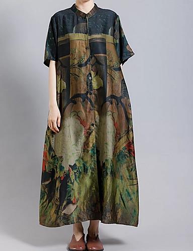 billige Ytterklær til damer-Dame Daglig Høst vinter Normal Trenchcoat, Fargeblokk Høy krage Kortermet Polyester Svart L / XL / XXL