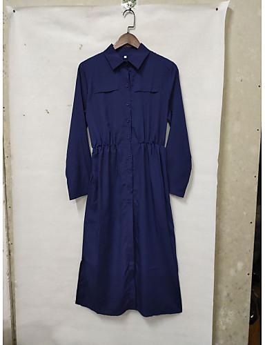 billige Kjoler-Dame Grunnleggende Bomull Skjorte Kjole - Ensfarget Skjortekrage Maksi