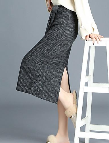abordables Jupes-Femme Basique Crochet Jupes - Couleur Pleine Noir Vert Gris Foncé M L XL