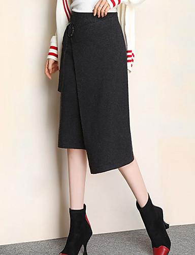 abordables Jupes-Femme Basique Trapèze Jupes - Couleur Pleine Noir Gris Foncé Beige Taille unique