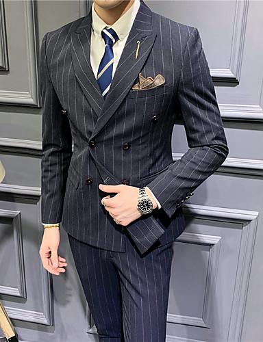 Siyah / Açık Gri / Koyu Mavi Çizgili Standart Kalıp Polyester Takım elbise - Çentik Çift Sıra Düğmeli Dört-Düğme