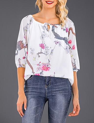 Tee-shirt Grandes Tailles Femme, Fleur Imprimé Sortie Chic de Rue Epaules Dénudées Noir / Printemps