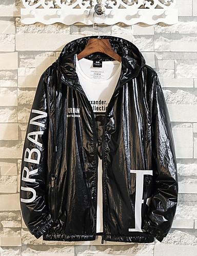 Erkek Günlük Temel Kış Normal Ceketler, Solid Siyah ve Beyaz Yakasız Uzun Kollu Polyester Desen Siyah / Beyaz US34 / UK34 / EU42 / US36 / UK36 / EU44 / US38 / UK38 / EU46