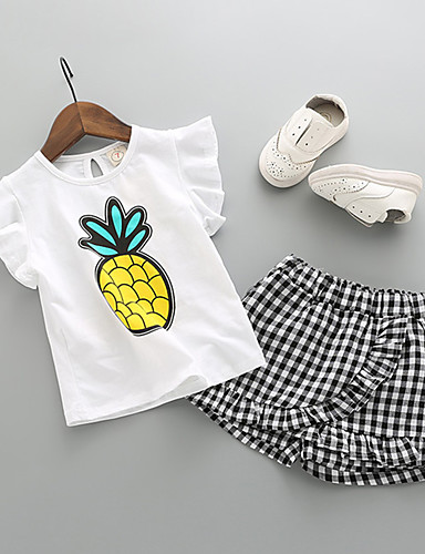 Çocuklar Genç Kız Temel Günlük Giyim Meyve Kısa Kollu Normal Normal Kıyafet Seti Beyaz
