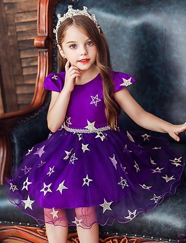 Çocuklar Toddler Genç Kız Temel Tatlı Galaksi Dantel Kırk Yama Desen Kolsuz Diz-boyu Elbise YAKUT / Pamuklu