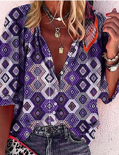 povoljno Majica-Majica Žene Dnevno Geometrijski oblici purpurna boja