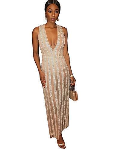 Kadın's sofistike Zarif Bandaj Kılıf Elbise - Çizgili Zıt Renkli, Payetler Örümcek Ağı Maksi Beyaz