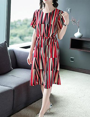 abordables Robes Femme-Femme Bohème Sophistiqué Midi Trapèze Robe - Lacet Imprimé, Géométrique Cerise Fleur du soleil Rouge Vert M L XL Manches Courtes