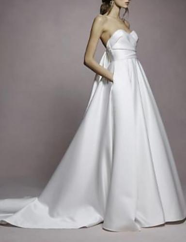 baratos Vestidos de Festa de Casamento-Linha A Decote Princesa Cauda Escova Cetim Vestidos de casamento feitos à medida com Pregueado de LAN TING Express