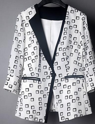 voordelige Damesblazers & jasjes-Dames Blazer, Effen V-hals Polyester Wit