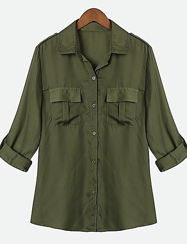 billige Topper til damer-Skjorte Dame - Ensfarget Militærgrønn