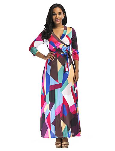 abordables Robes Femme-Femme Elégant Maxi Balançoire Robe - Imprimé, Géométrique Bloc de Couleur Arc-en-ciel S M L Demi Manches