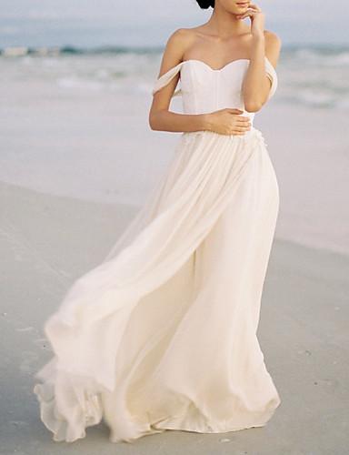 abordables Robes de Mariée 2019-Trapèze Epaules Dénudées Traîne Brosse Mousseline de soie Robes de mariée sur mesure avec Appliques par LAN TING Express