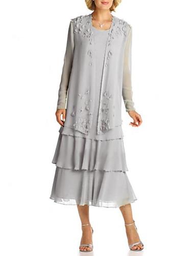 voordelige Wrap Dresses-A-lijn Met sieraad Over de knie Chiffon Bruidsmoederjurken met Appliqués / Lagen door LAN TING Express / Wrap inbegrepen