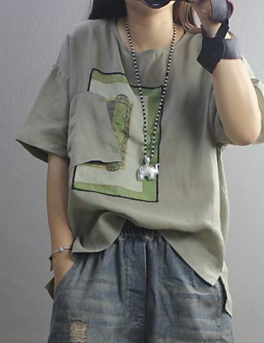 billige Topper til damer-T-skjorte Dame - Geometrisk, Trykt mønster Grunnleggende Svart