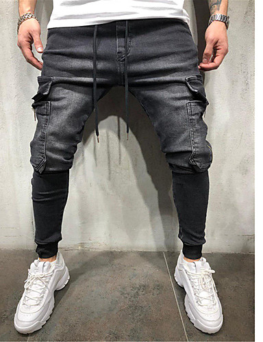 billige Bukser og shorts til herrer-Herre Grunnleggende EU / USA størrelse Chinos Bukser - Ensfarget Blå Svart US32 / UK32 / EU40 US34 / UK34 / EU42 US36 / UK36 / EU44 / Snorer / Elastisitet