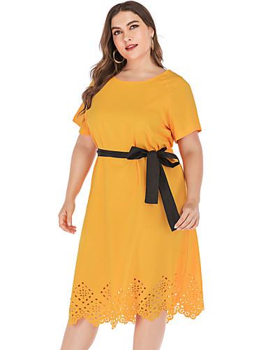 Kadın's Temel A Şekilli Elbise - Solid, Şalter Diz-boyu