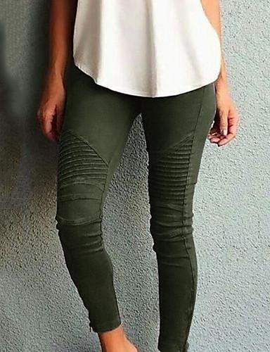 abordables Pantalons Femme-Femme Chic de Rue Mince Pantalon - Couleur Pleine Taille haute Coton Noir Vin Vert Véronèse XS S M