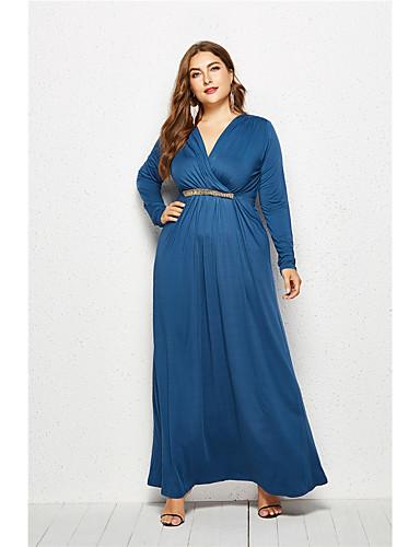 Kadın's Zarif Çan Elbise - Solid Maksi