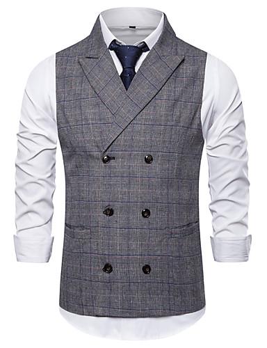 voordelige Herenblazers & kostuums-Heren Vest, Kleurenblok / Pied-de-poule V-hals Rayon / Polyester Bruin / Grijs