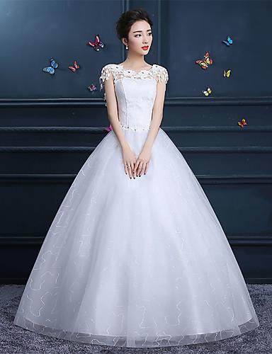 abordables Robes de Mariée 2019-Trapèze Bijoux Longueur Sol Dentelle Robes de mariée sur mesure avec par