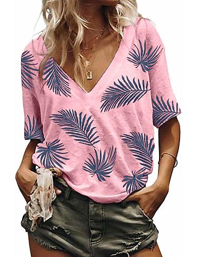 billige Topper til damer-T-skjorte Dame - Blomstret, Jacquard Grunnleggende BLå & Hvit Hvit