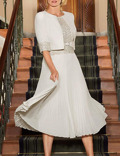 voordelige Wrap Dresses-A-lijn Met sieraad Over de knie Chiffon / Kant Bruidsmoederjurken met Kant / Plooien door LAN TING Express / Wrap inbegrepen