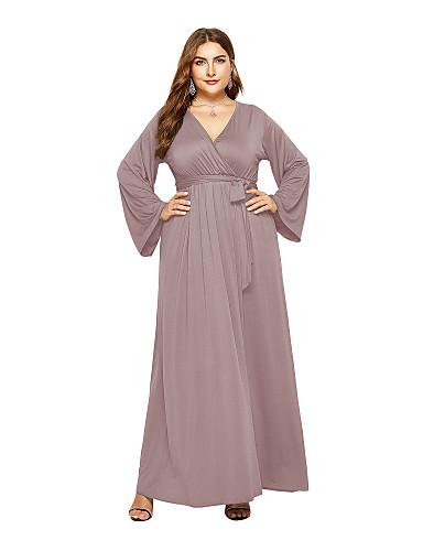 voordelige Grote maten jurken-Dames Elegant Recht Jurk - Effen Maxi
