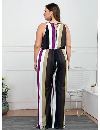 abordables Hauts pour Femmes-Femme Arc-en-ciel Combinaison-pantalon, Rayé L XL XXL