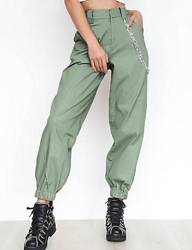 abordables Pantalons Femme-Femme Sportif Pantalon cargo Pantalon - Couleur Pleine Noir Blanche Vert XS S M