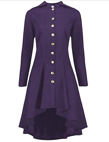 Недорогие Верхняя одежда-Жен. Повседневные Длинная Пальто, Однотонный Круглый вырез Длинный рукав Полиэстер Черный / Винный / Лиловый