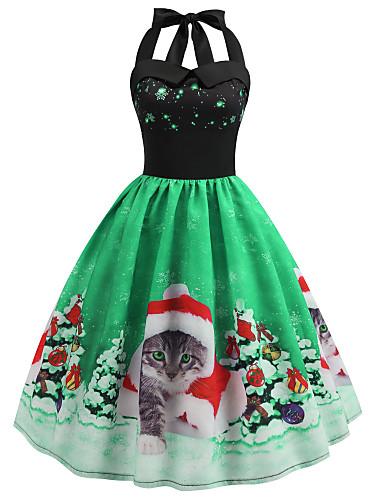 levne Dámské šaty-Dámské Vintage A Line Šaty - Zvíře, Volná záda Patchwork Délka ke kolenům Kočka